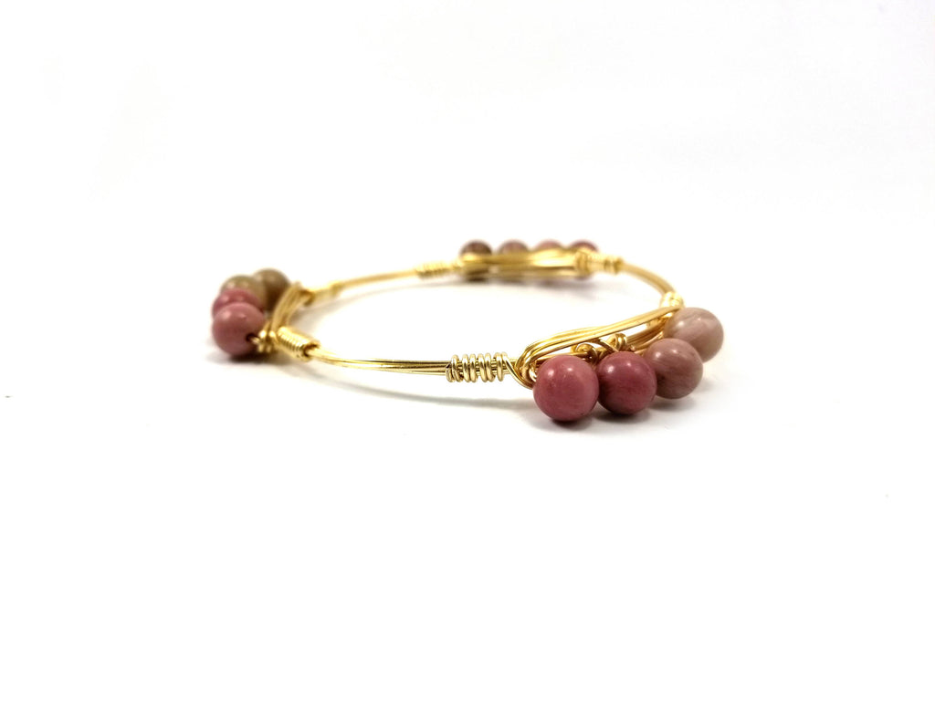 Pink Rhodonite bangle bracelet