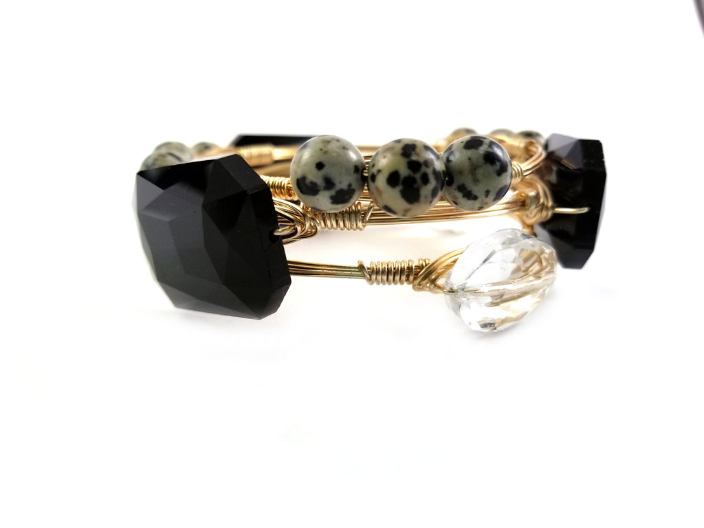 Large black crystal bangle, Dalmatian bead bangle and crystal bangle set of 3  bangles