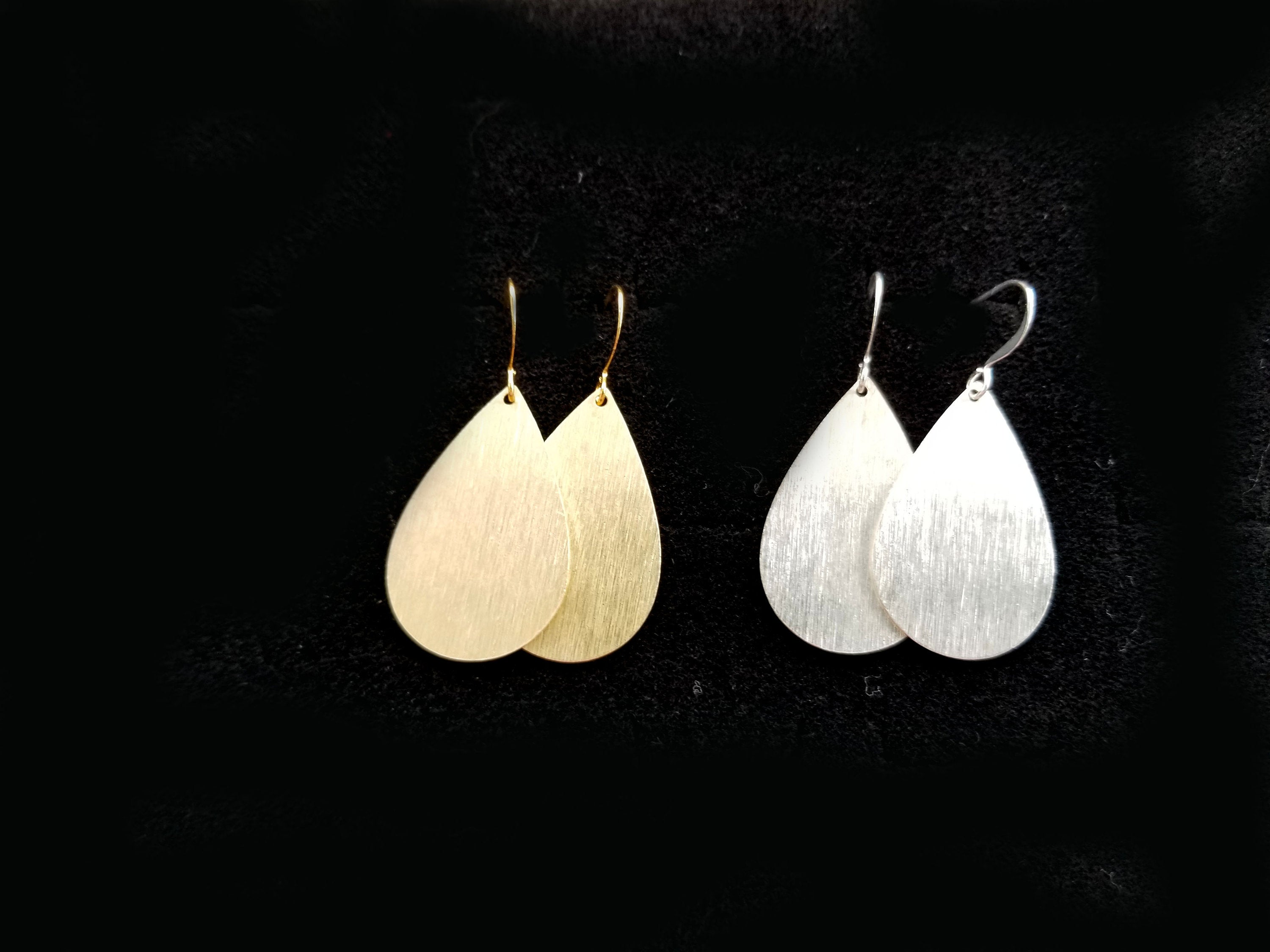 Brushed silver or gold teardrop earrings, brushed silver or gold light-weight earrings