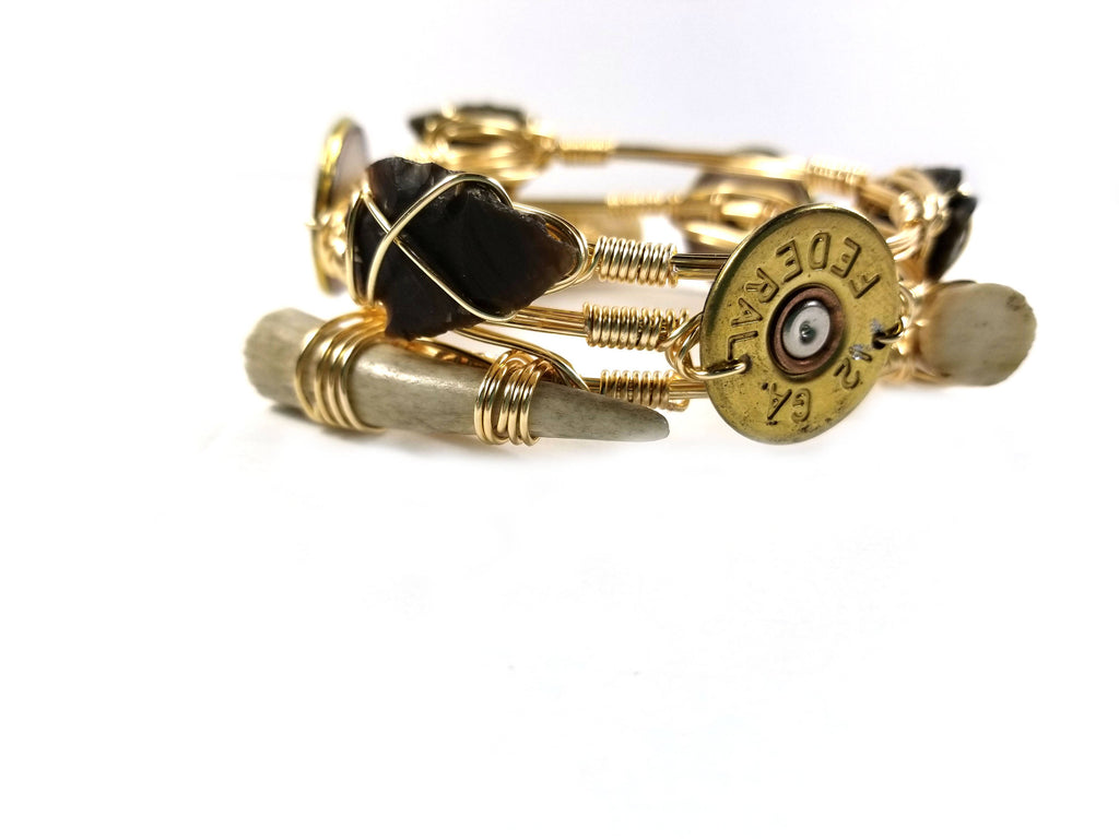 Shot gun shell bracelet, arrowhead bangle and antler bangle set of 3 bangle bracelets