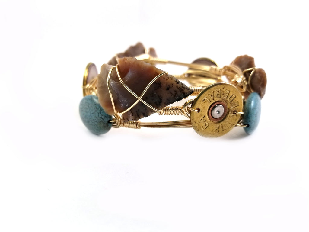Shot gun shell bangle bracelet, arrowhead bangle and turquoise bracelet set
