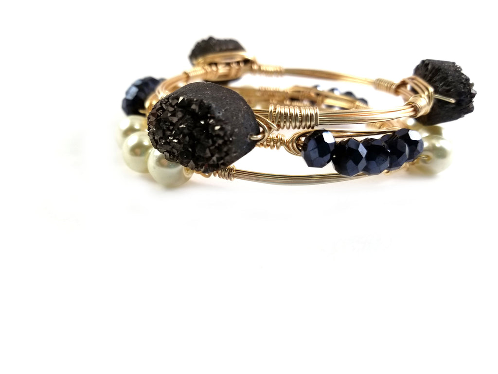 Black druzy , pearl bangle, crystal bangle set of 3 bangle bracelets