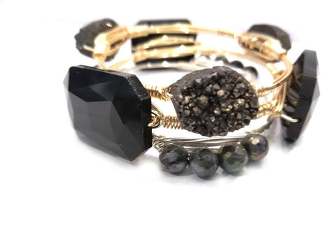 Black druzy, black crystal, and labradorite set of 3 bangle bracelets