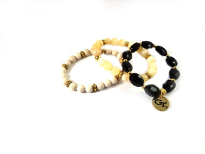 Georgia Tech beaded bracelet set of 3 stretch bracelets