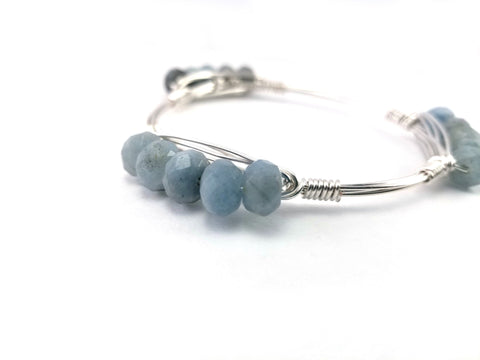 Aquamarine abacus cluster bangle bracelet