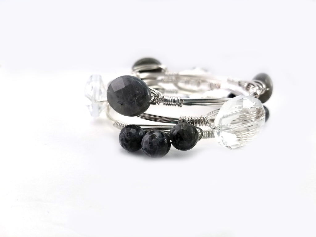 Labradorite oval bangle, clear crystal, and labradorite cluster bangle set of 3