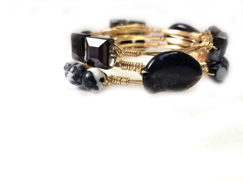 Zebra jasper bangle-black crystal bracelet-black agate bangle set