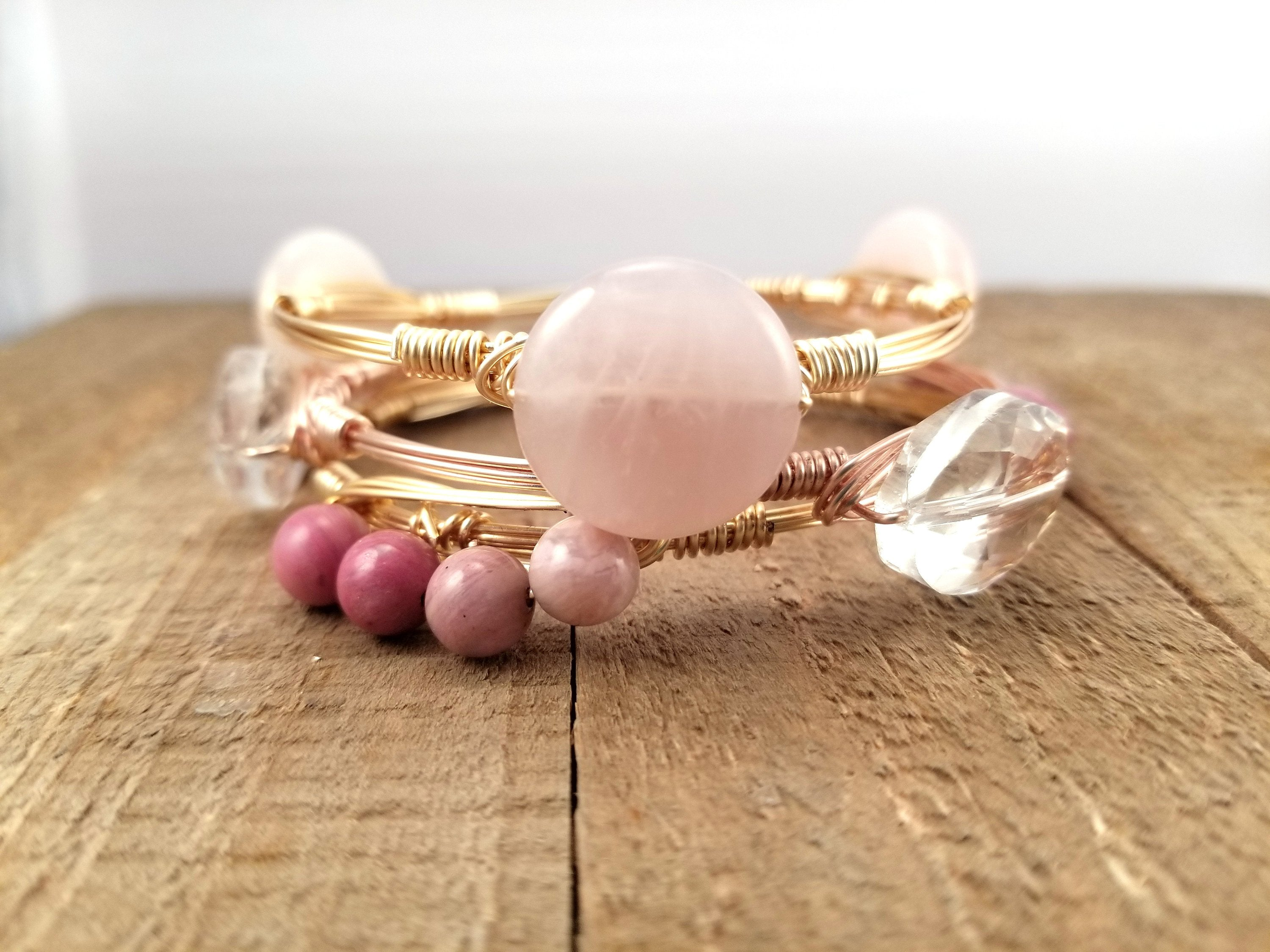 Pink quartz bangle, rhodonite cluster bangle and clear crystal bangle set of 3