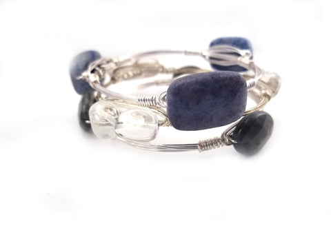 Blue aventurine bangle, oval labradorite bracelet, and clear quartz crystal bangle set of 3