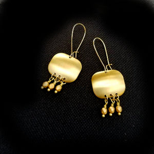 Brushed matte gold earrings with matte gold crystal dangles