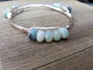 Amazonite abacus cluster bangle bracelet