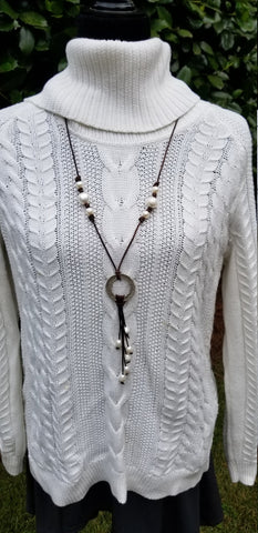 Leather and pearl necklace with silver ring/ cascading pearls/ adjustable necklace