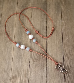 Leather, pearl and amazonite lanyard/ name badge holder/ key holder necklace