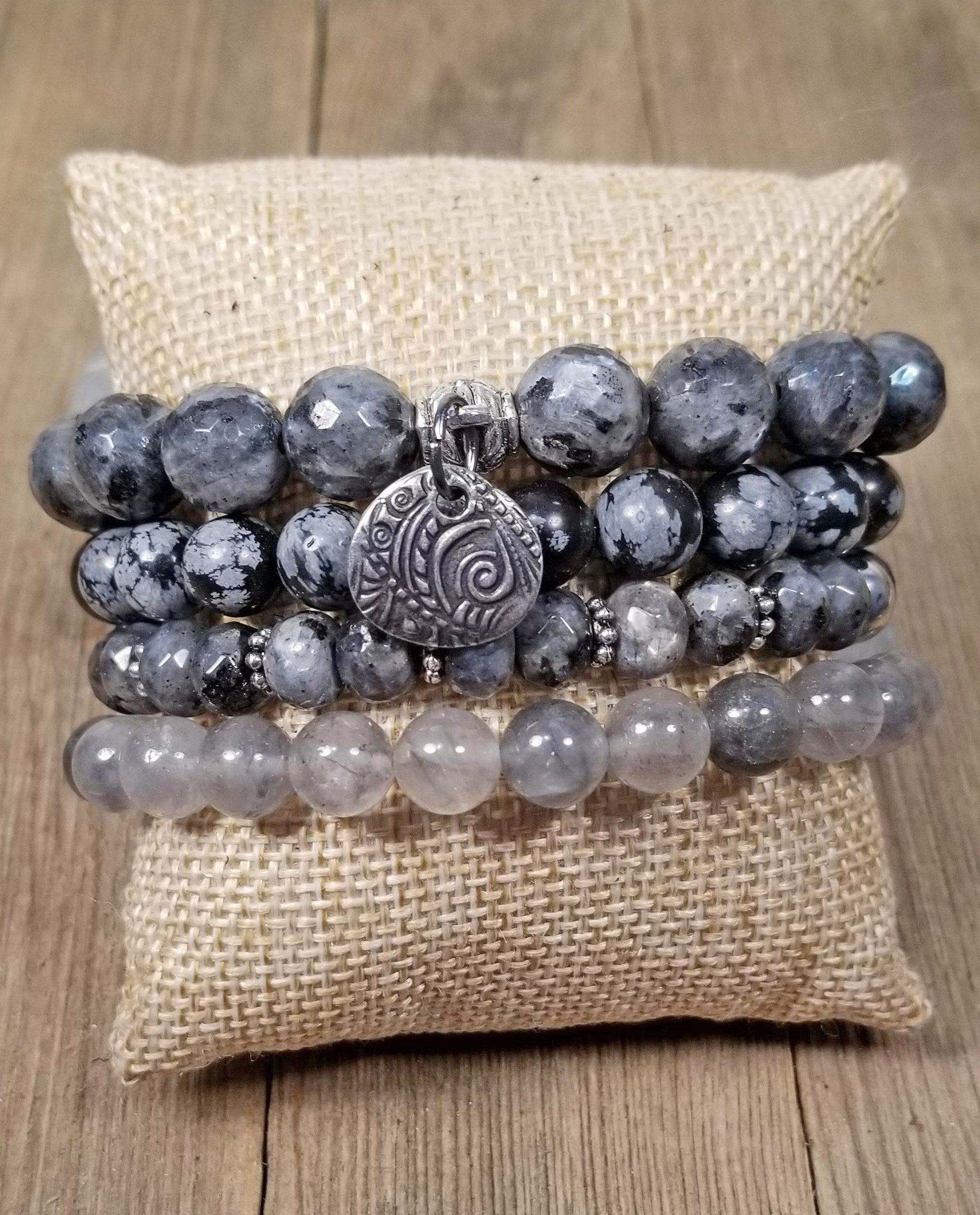 Gray stacking bracelets, set of 4 gemstone bracelets