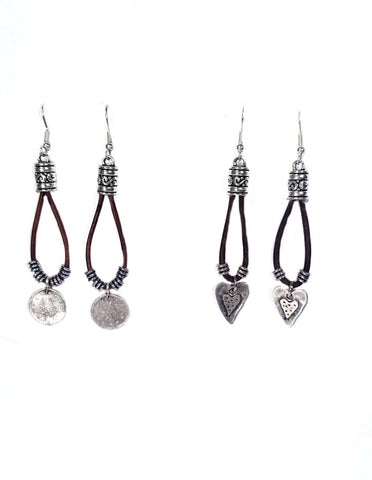 Leather and silver dangle earrings with coin or heart charm