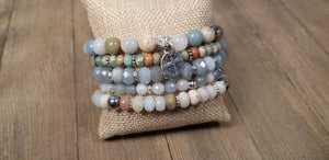 Blue stacking bracelets, 5 stack gemstone bracelets