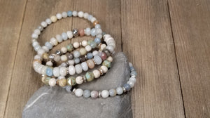 Amazonite stacking bracelets, set of 4 gemstone bracelets