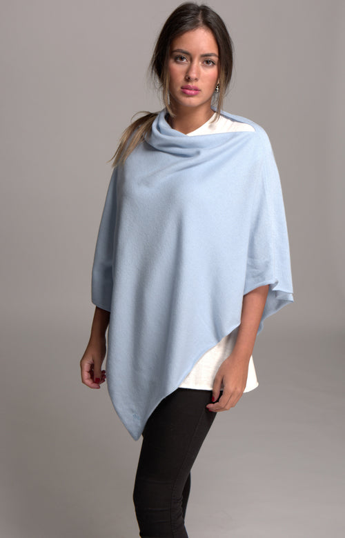 Asymmetrical Cashmere Poncho Powder Blue