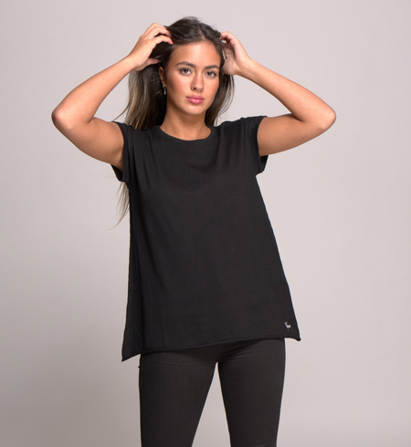 Cap Sleeve Top in Cashmere and Cotton - Snow