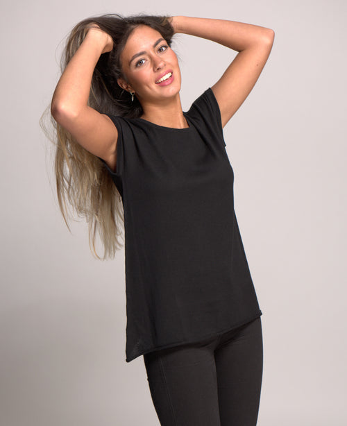 Cap Sleeve Top Cashmere Blended Black