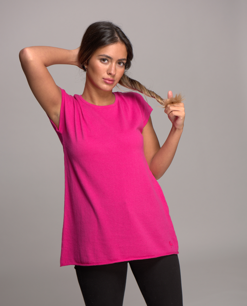 cap sleeve top cerise pink 2