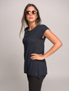 Cap Sleeve Top in Cashmere and Cotton - Navy Blue