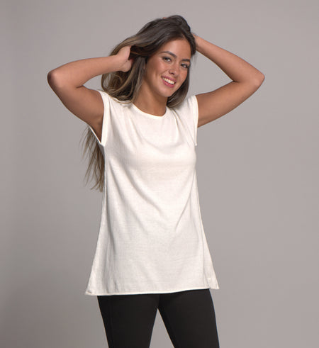 Luxurious Cap Sleeve Top in Cotton, Silk and Cashmere - Black