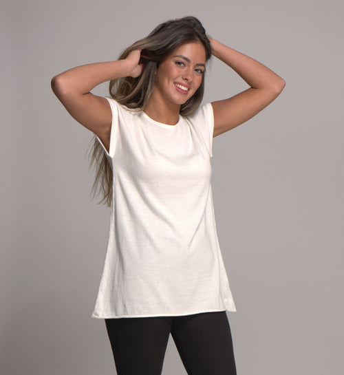 Cap Sleeve Top Cashmere Blended Snow