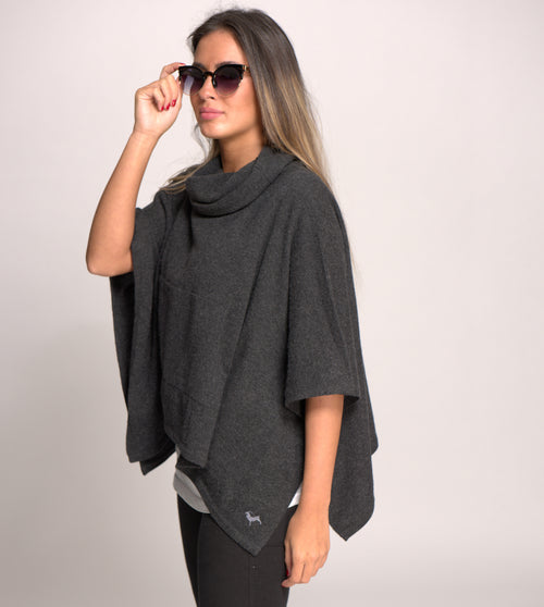 Cashmere Poncho with Cowl Neck and Pouch Pockets - Charcoal