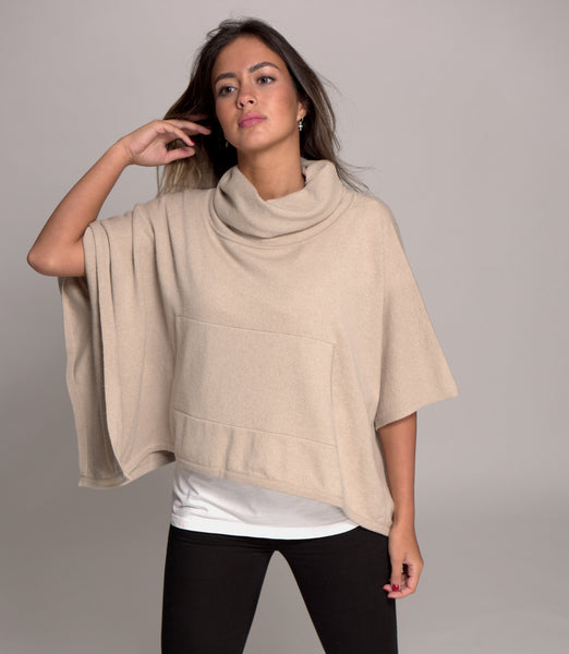 Cowl Neck Cashmere Poncho Fawn