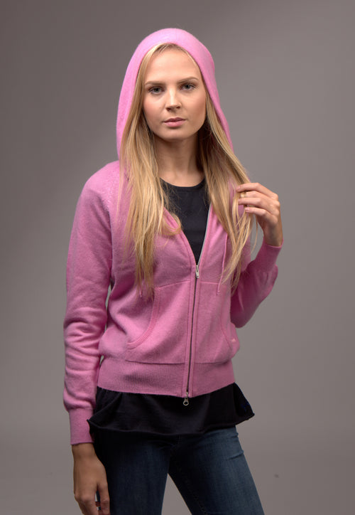 Cashmere Hoody Zip Up Carnation Pink