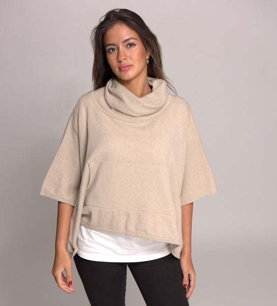 Cashmere Poncho with Cowl Neck and Pouch Pockets - Fawn