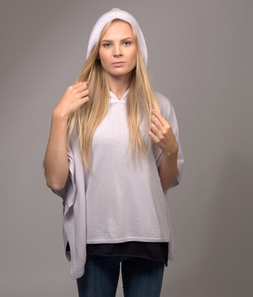 Cashmere Poncho with Hoody Silver Lilac