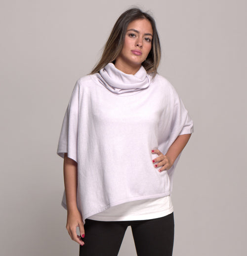 Cashmere Cowl Neck Poncho in Silver Lilac