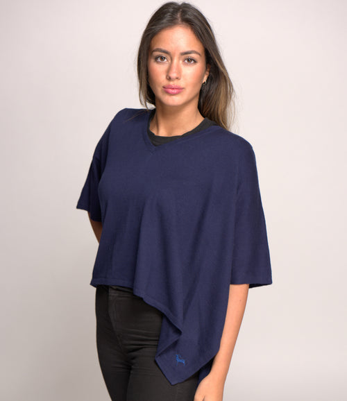 V Neck Cashmere Blend Poncho Navy Blue