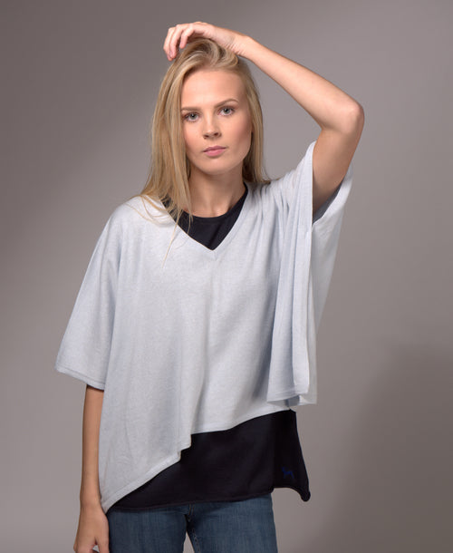 V Neck Cashmere Blended Poncho Whisper Blue