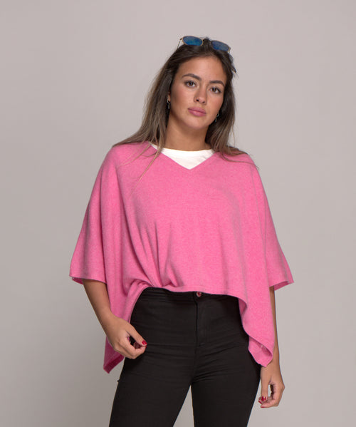 V Neck Cashmere Poncho Mixed Sherbet Pink