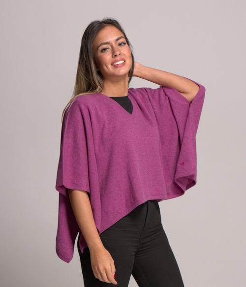 Cashmere Poncho Style Top With V Neck - Potpourri