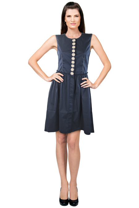 Purotatto Navy Cotton Stretch Dress