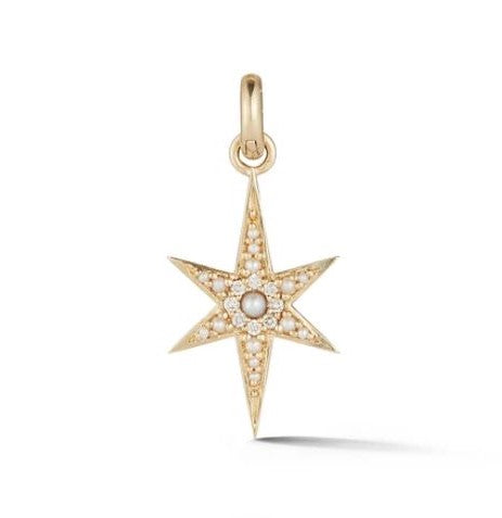 14K Gold Pearl & Diamond Stella Charm