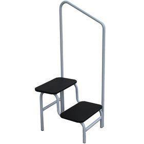 Double Step Stool with Handrail Black - Medsales