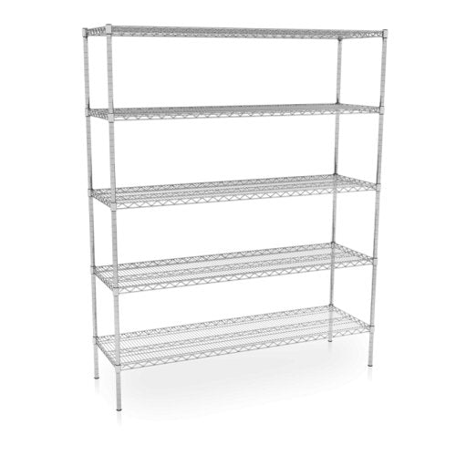 Nickel Chrome Wire Shelving Units 610mm (D) - 5 Tier Static - Medsales