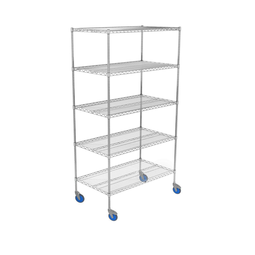 Nickle Chrome Wire Shelving Units 610mm (D) - 5 Tier Mobile - Medsales