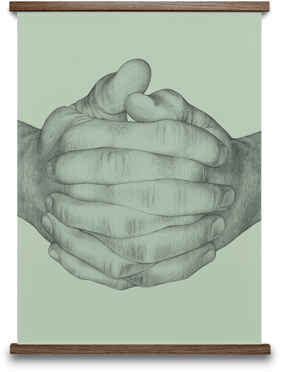 Folded Hands Green B. Bredenbekk 50 x 70 cm