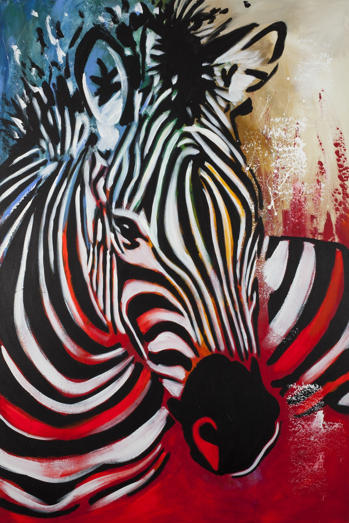 colored zebra red artist felix auf leinwand. Black Bedroom Furniture Sets. Home Design Ideas