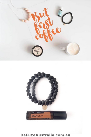 quote: but first coffee | lava bracelets with essential oils