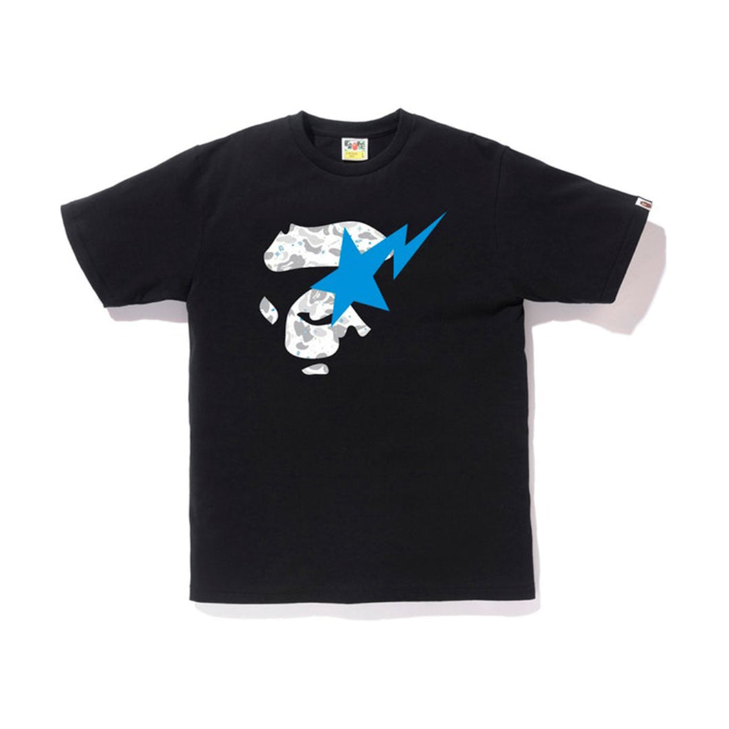 BAPE Space Camo Ape Face on Bapesta Tee - Black