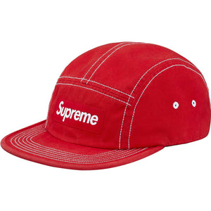 Supreme Contrast Stitch Camp Cap - Red