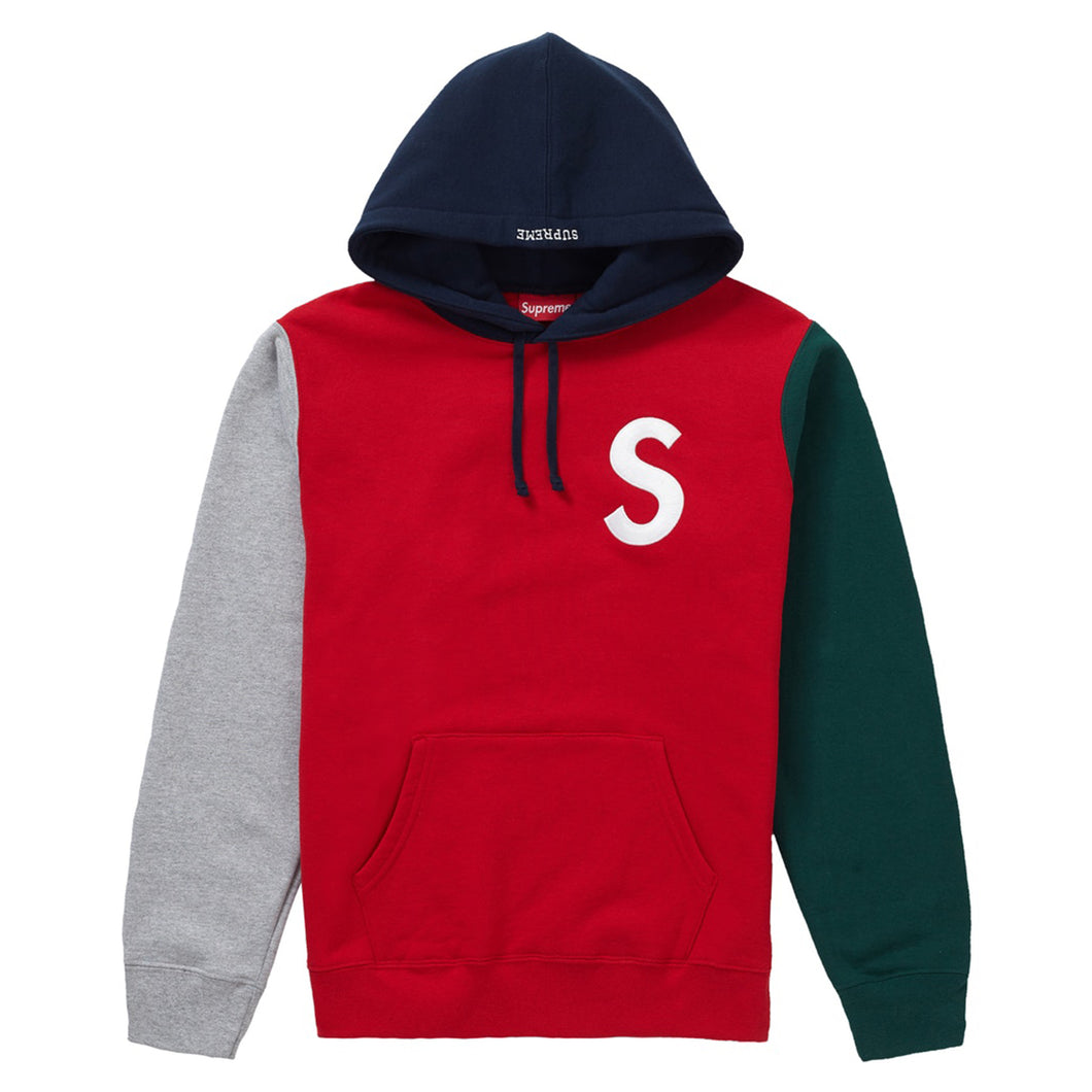 Supreme SS19 S Logo Colourblock Hoodie Red