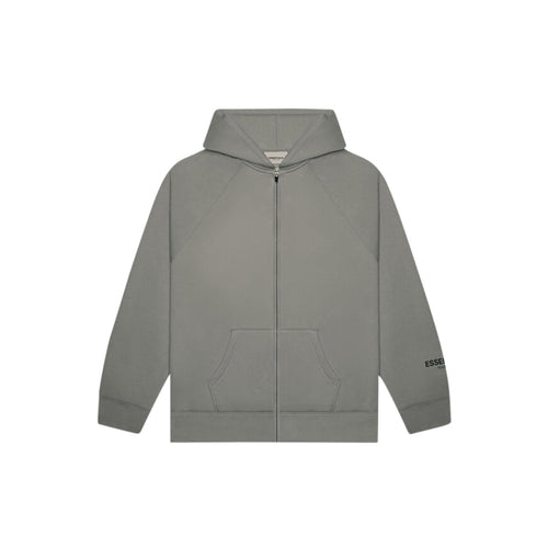 FEAR OF GOD ESSENTIALS 3D Silicon Applique Full Zip Up Hoodie - Charcoal